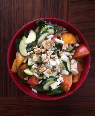 Green salad with zuchinni, heirloom tomato, feta, balsamic dressing!